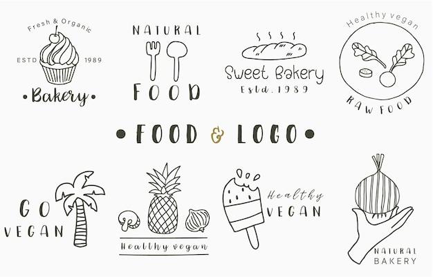 Colección de logotipos de alimentos con piña, pan, cocotero, helado.ilustración de vector para icono, logotipo, pegatina, imprimible y tatuaje Vector Premium