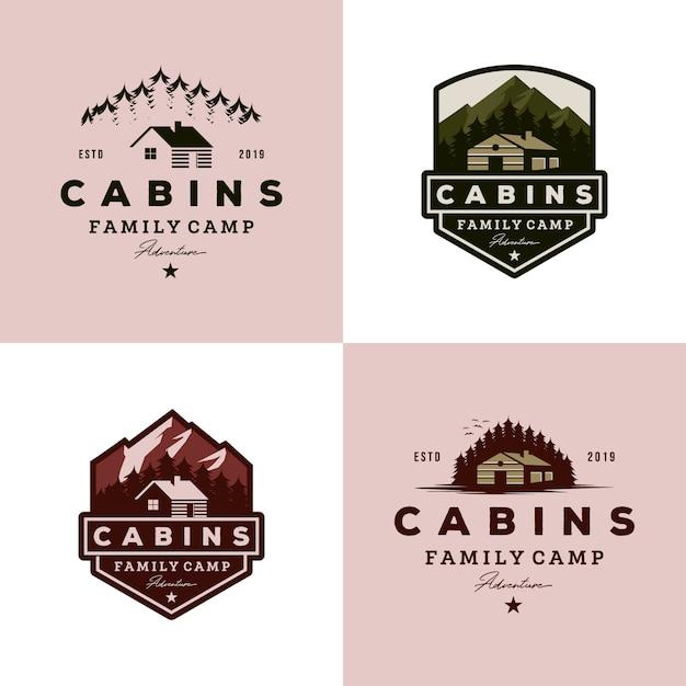 Colección de logotipos de cabañas vintage Vector Premium
