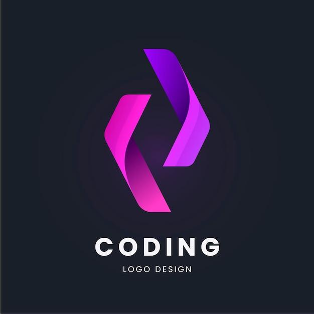 Colección de logotipos de código plano vector gratuito