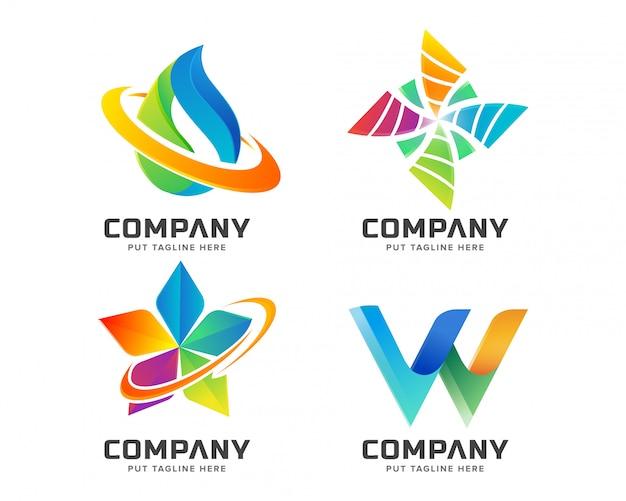 Colección de logotipos coloridos abstractos Vector Premium