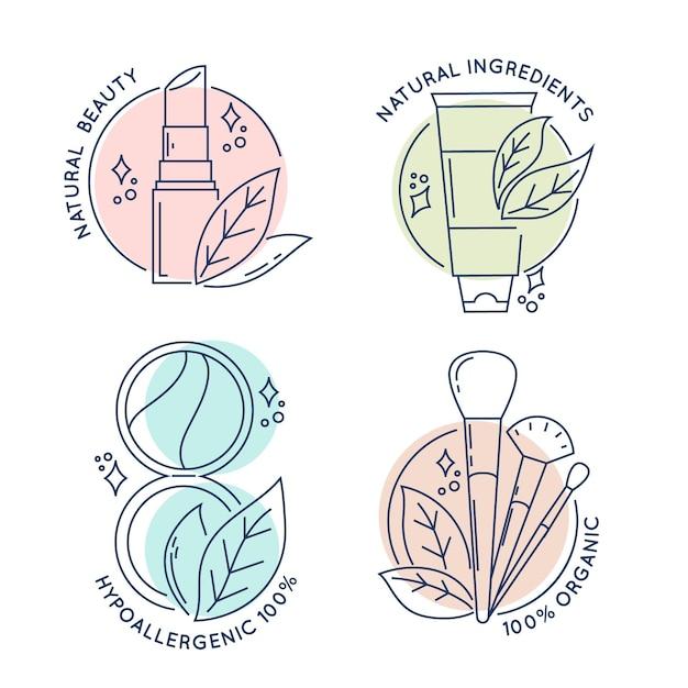 Colección de logotipos de cosméticos de la naturaleza vector gratuito
