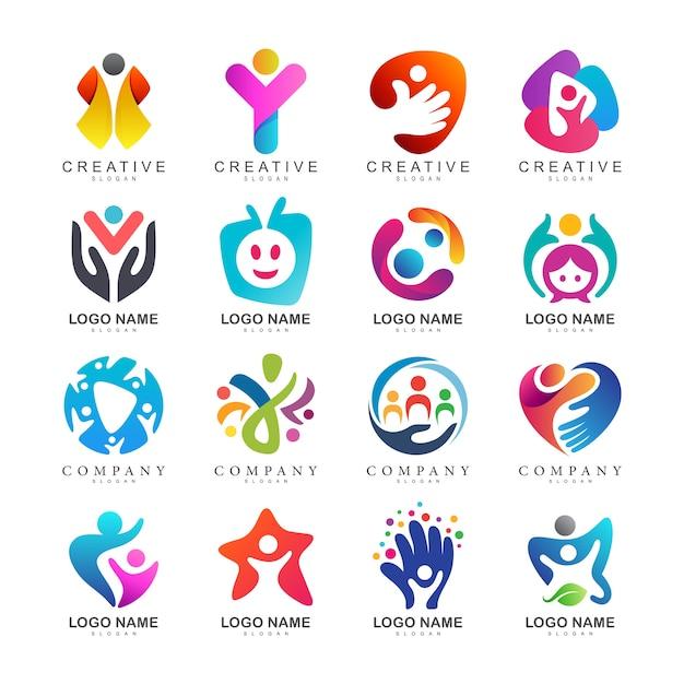Colección de logotipos de cuidado de niños Vector Premium