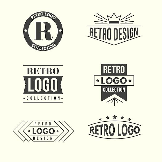 Colección de logotipos de diseño retro vector gratuito