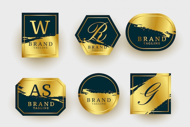 Colección de logotipos dorados de lujo geométricos vector gratuito