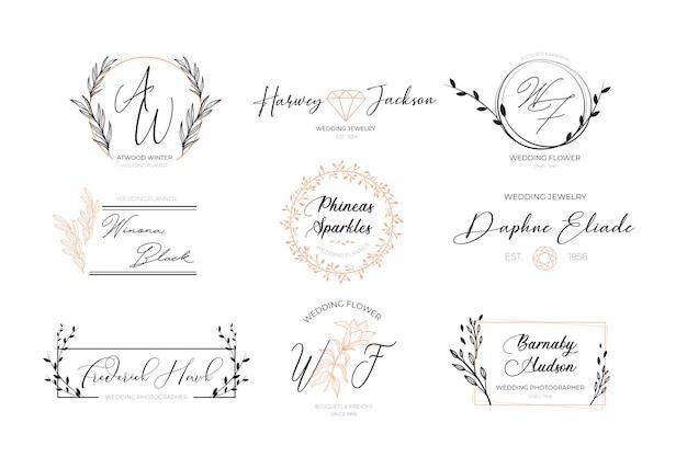 Colección de logotipos elegantes florales vector gratuito
