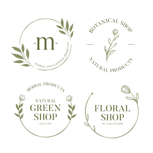 Colección de logotipos empresariales naturales en estilo minimalista vector gratuito