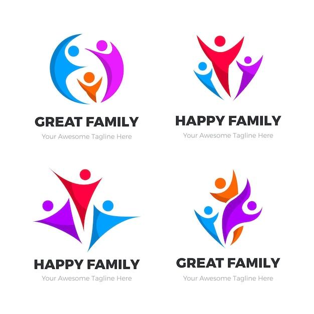 Colección de logotipos familiares vector gratuito