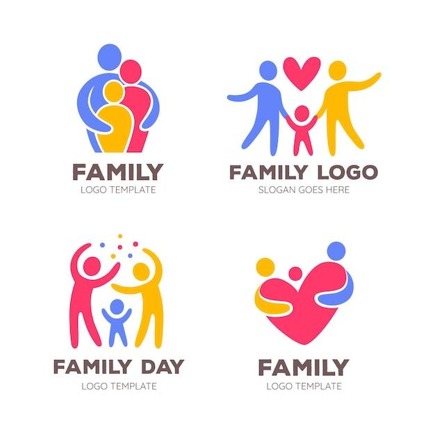 Colección de logotipos familiares Vector Premium
