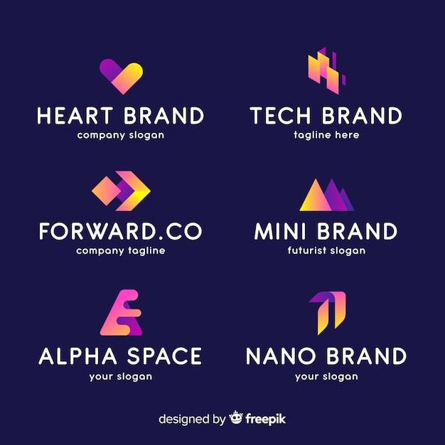 Colección de logotipos gradientes abstractos vector gratuito