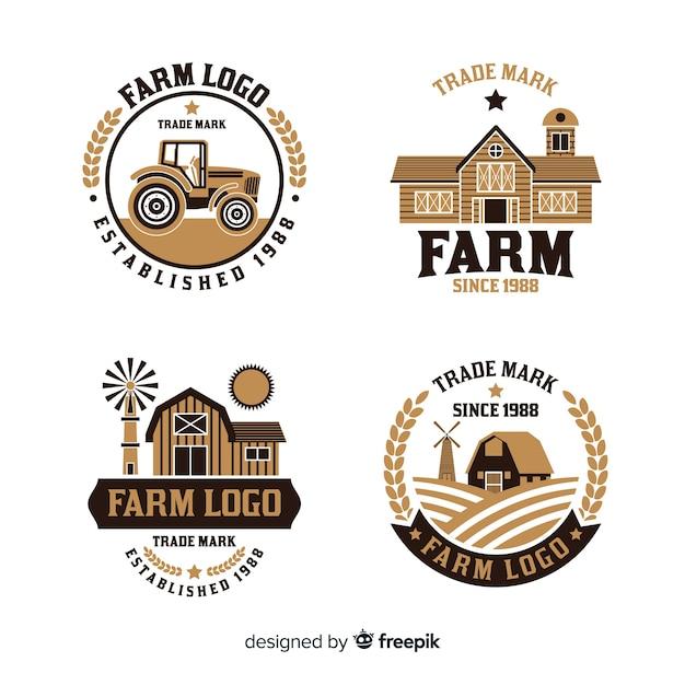 Colección de logotipos de granja en estilo plano vector gratuito