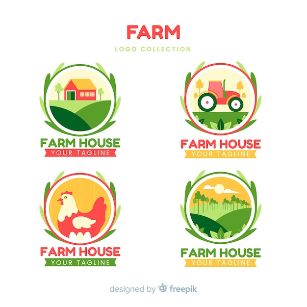 Colección de logotipos de granja vector gratuito
