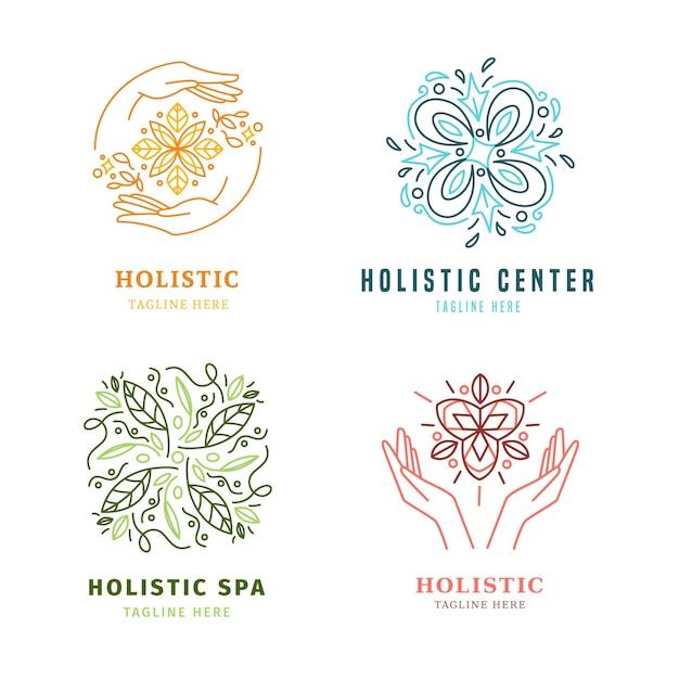 Colección de logotipos holísticos dibujados a mano plana vector gratuito