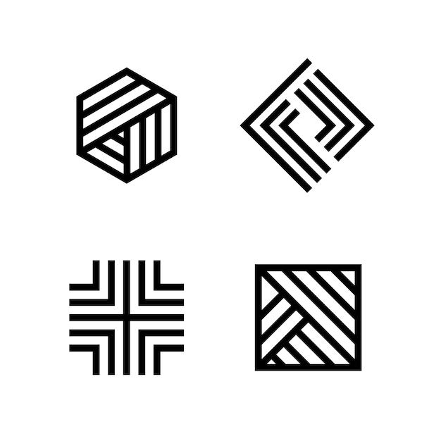 Colección de logotipos lineales abstractos vector gratuito
