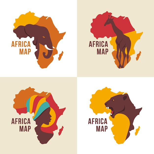 Colección de logotipos de mapas de áfrica vector gratuito