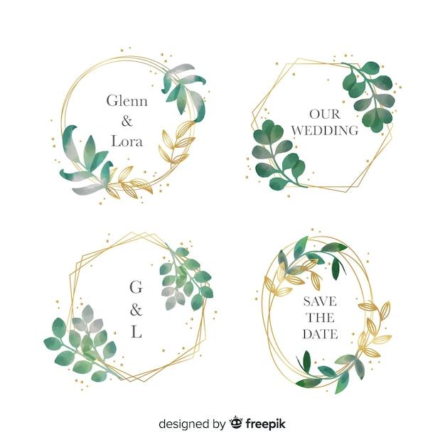 Colección de logotipos de marco de boda acuarela vector gratuito