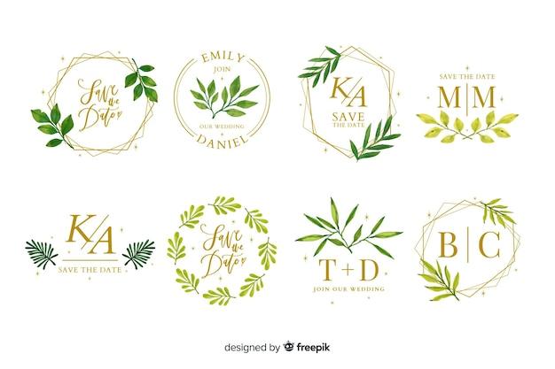 Colección de logotipos de marco de boda de acuarela vector gratuito