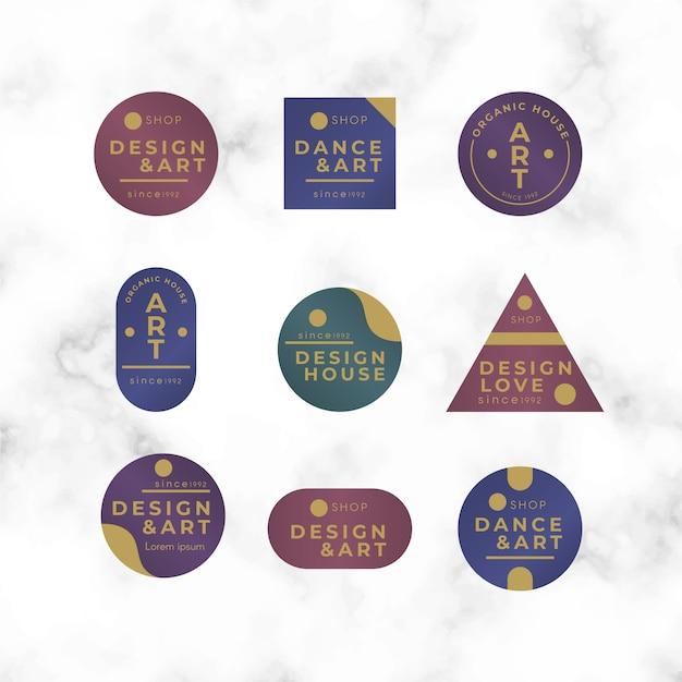 Colección de logotipos minimalistas coloridos sobre fondo de mármol vector gratuito