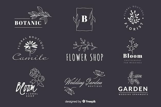 Colección de logotipos minimalistas de floristería para bodas vector gratuito