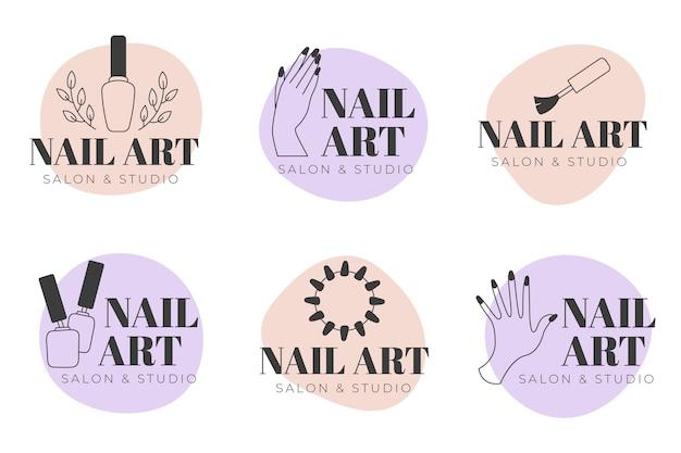 Colección de logotipos de nails art studio vector gratuito
