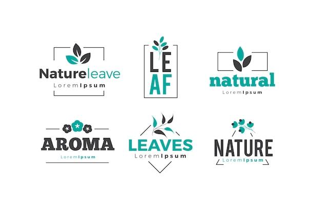 Colección de logotipos naturales en estilo minimalista vector gratuito