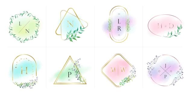 Colección de logotipos naturales y orgánicos para branding, identidad corporativa. marco dorado con flores en estilo acuarela vector gratuito