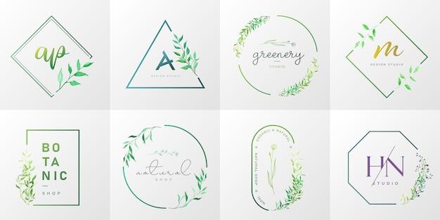Colección de logotipos naturales y orgánicos para branding, identidad corporativa, packaging y tarjeta de visita. vector gratuito