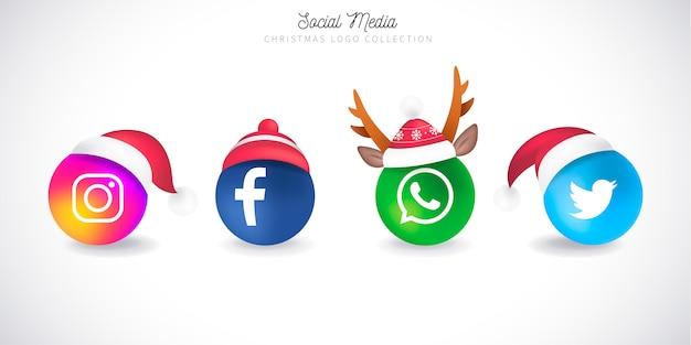 Colección de logotipos navideños de redes sociales vector gratuito