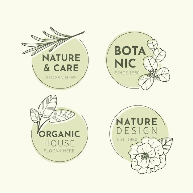 Colección de logotipos de negocios naturales en estilo minimalista vector gratuito