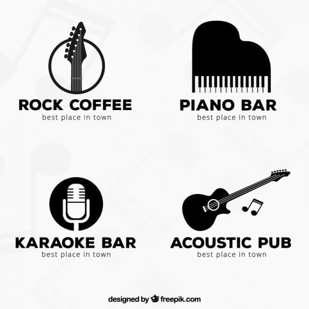 Colección de logotipos negros de música vector gratuito