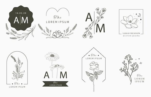 Colección de logotipos ocultos de belleza con geometría, magnolia, lavanda, luna, estrella, flor. Vector Premium