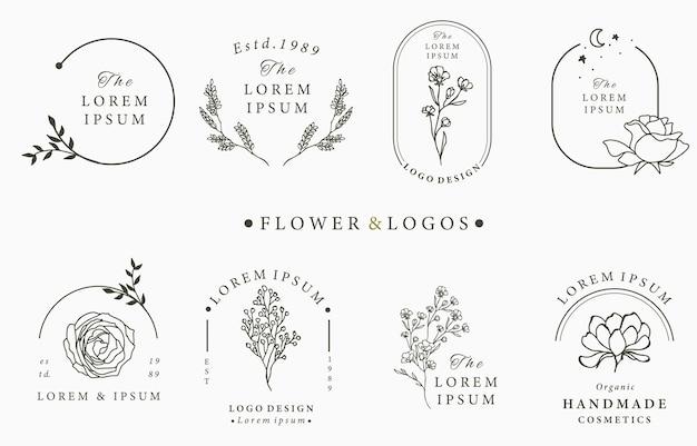 Colección de logotipos ocultos de belleza con geometría, rosa, luna, estrella, flor. Vector Premium
