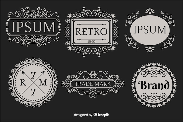 Colección de logotipos ornamentales vintage vector gratuito