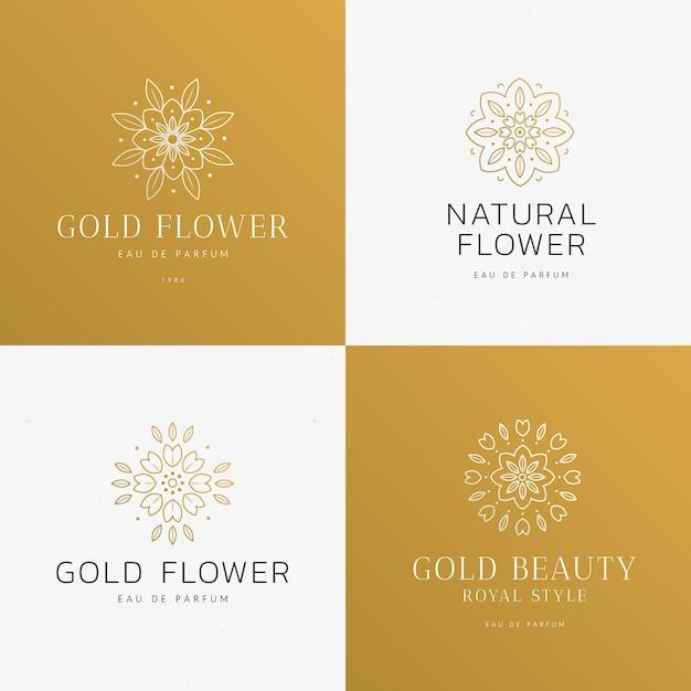 Colección de logotipos de perfumes florales de lujo vector gratuito