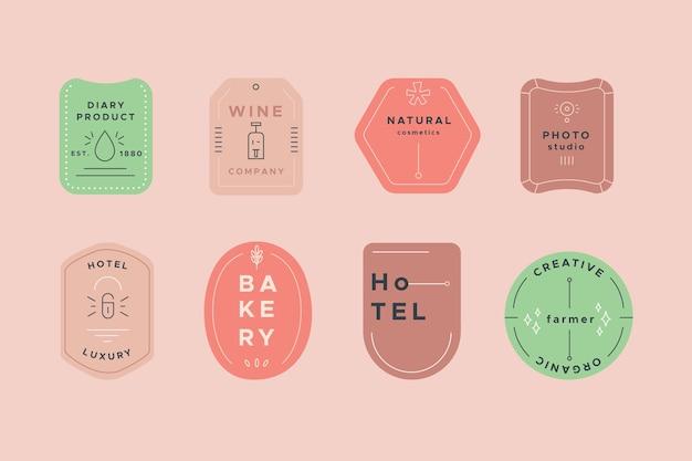 Colección de logotipos con plantilla de colores pastel vector gratuito