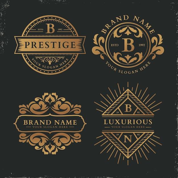 Colección de logotipos de plantilla retro de lujo vector gratuito