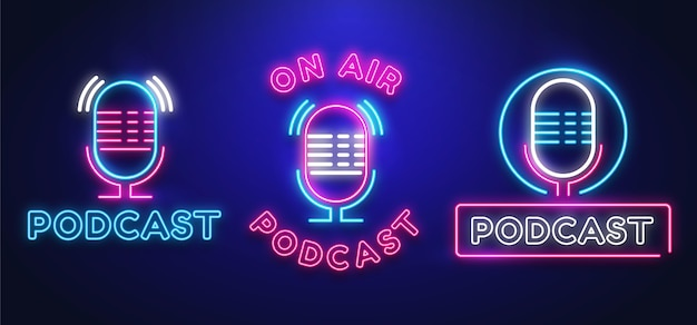 Colección de logotipos de podcast de neón vector gratuito