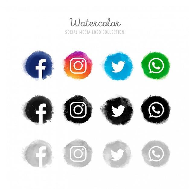 Colección de logotipos de redes sociales en acuarela vector gratuito