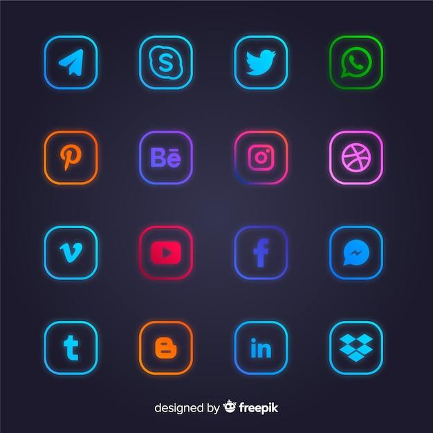 Colección de logotipos de redes sociales gradiente vector gratuito