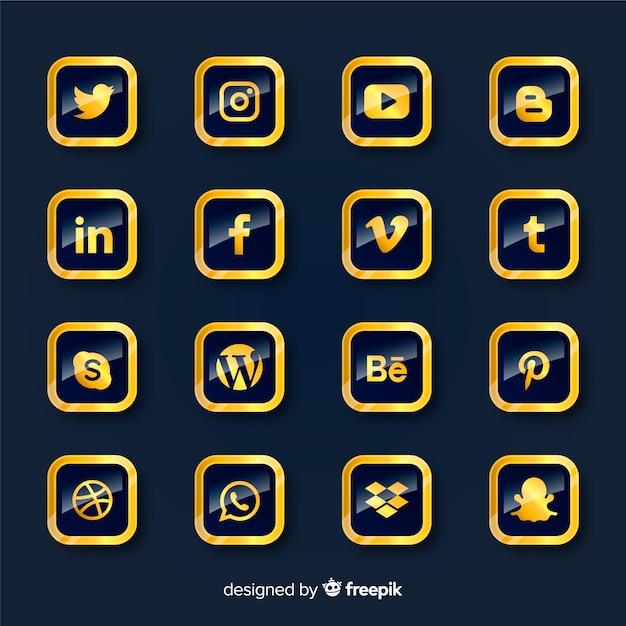 Colección de logotipos de redes sociales de lujo vector gratuito