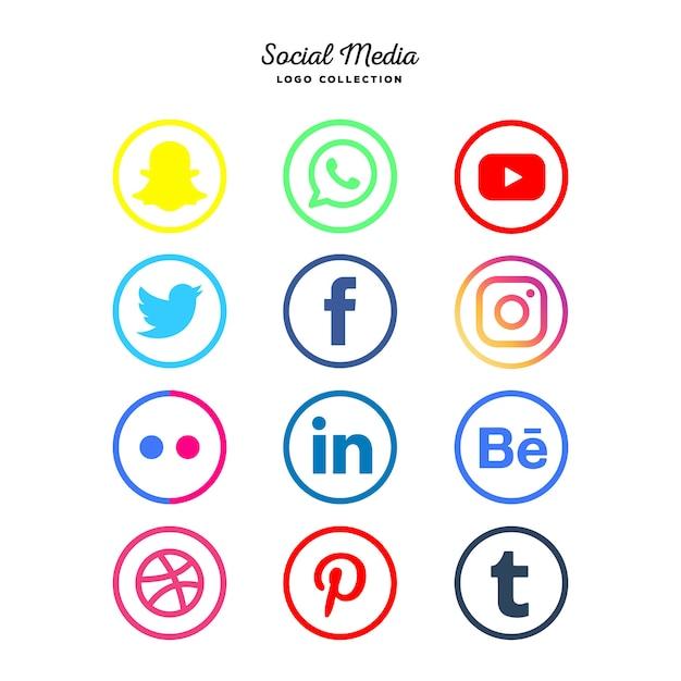 Colección de logotipos de redes sociales. vector gratuito