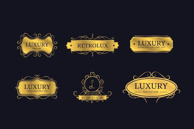 Colección de logotipos retro de lujo vector gratuito
