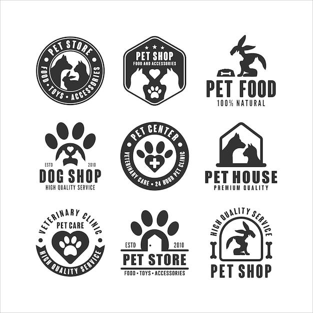 Colección de logotipos de tiendas de mascotas Vector Premium