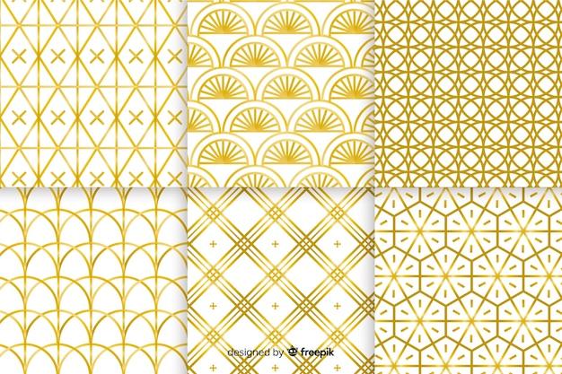Colección de lujo de patrones geométricos dorados vector gratuito