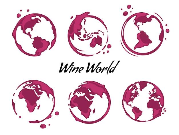 Colección de manchas redondas de vino con forma de mapa del mundo. Vector Premium