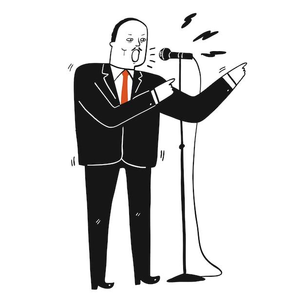 Colección, de, mano, dibujado, un, hombre, en, traje negro, hablar, el discurso, en el micrófono., vector, ilustraciones, en, bosquejo, garabato, style Vector Premium
