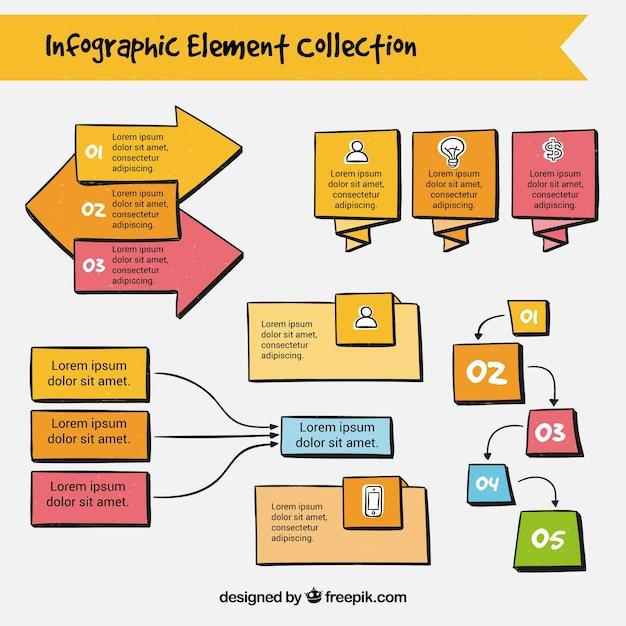 Colección a mano de elementos infográficos vector gratuito