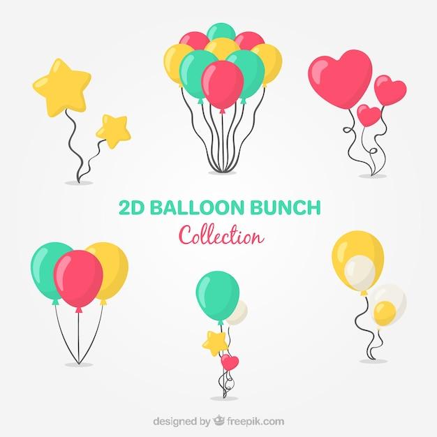 Colección de manojo de globos coloridos en estilo 2d vector gratuito