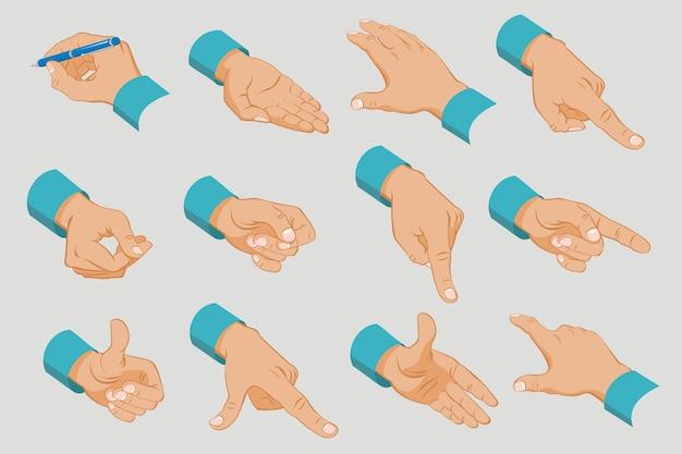 Colección de manos masculinas con diferentes gestos y señales en estilo isométrico aislado vector gratuito