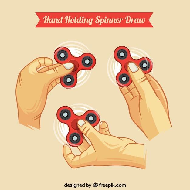 Colección de manos sujetando spinners vector gratuito