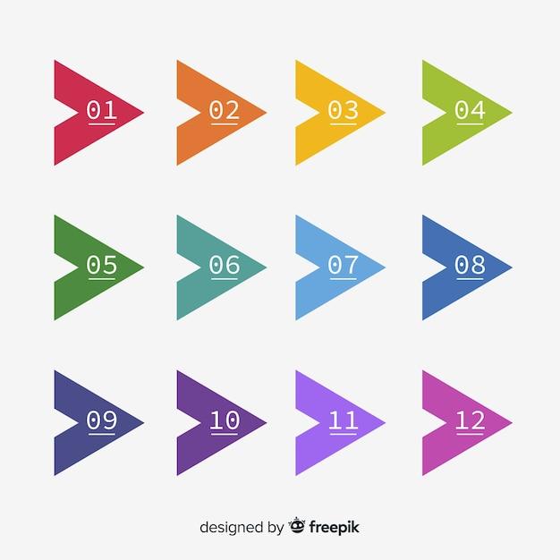 Colección de marcadores de flecha en diseño plano vector gratuito